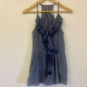 AE blue embroidered romper tie waist casual